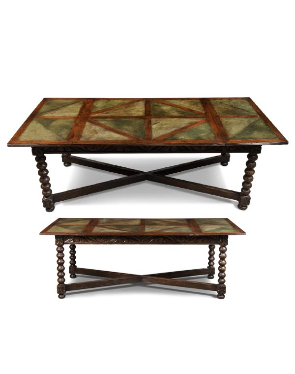 French Inlay Oak Table