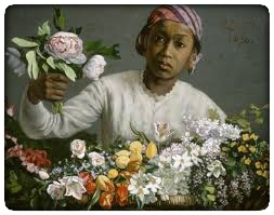 Frederic Bazille's  Young Woman with Peonies , 1870