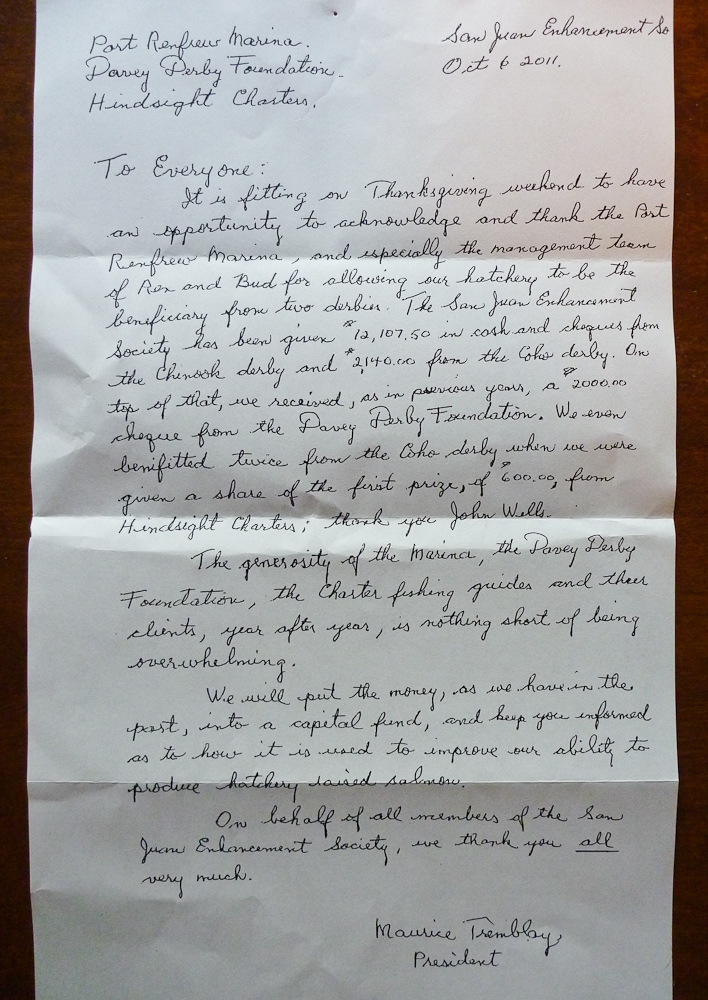 Thank you letter from San Juan Hatchery