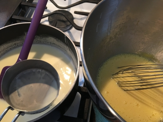 Place the bowls side by side to avoid spillage (I have learned this the hard way). You see the towel under the egg mixture? That will help the bowl stay still when you are whisking.