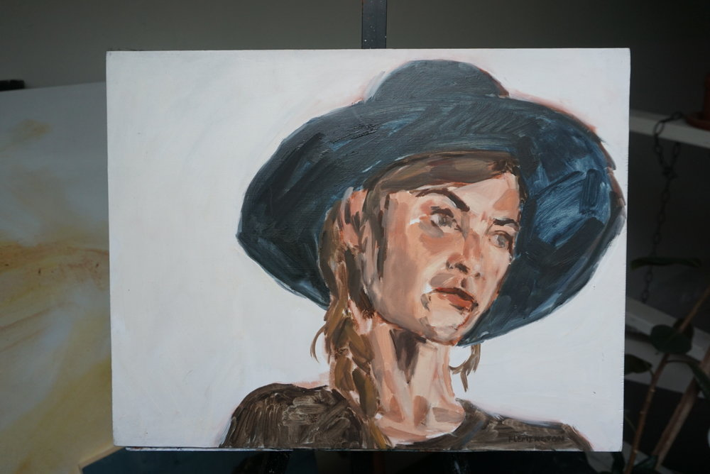 "Leigh with Hat  Oil paint on board  18"" x 14""  $425"