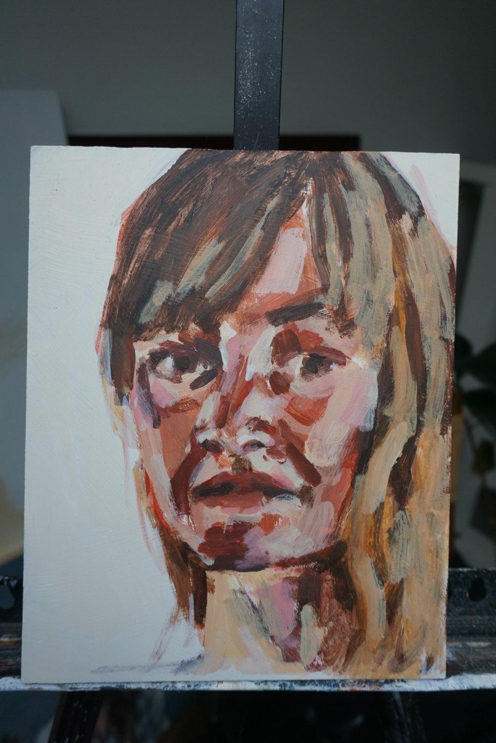 """Kristen  Oil paint on board  8"""" x 10""""  $175"""