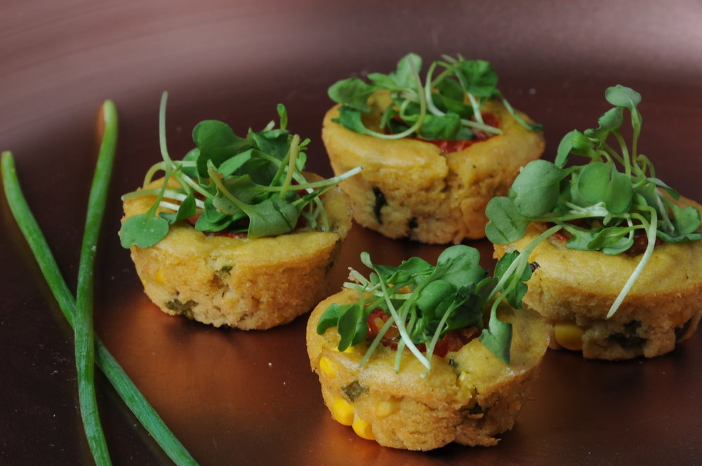 Chickpea frittata with zucchini, corn, and salsa verde