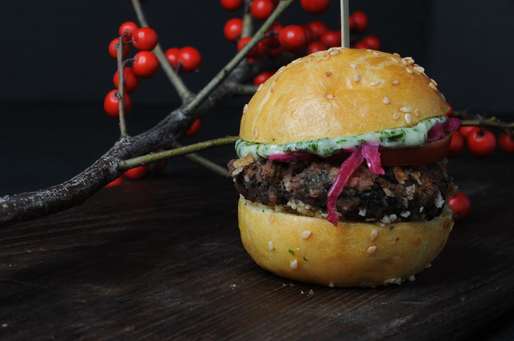 Black bean slider with pickled onion