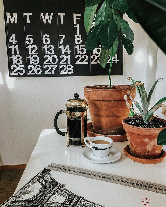 A very French pressed morning. ☀️☕️ • #interiordesign #eiffeltower #houseplants #plants #coffee #frenchpress #stendig
