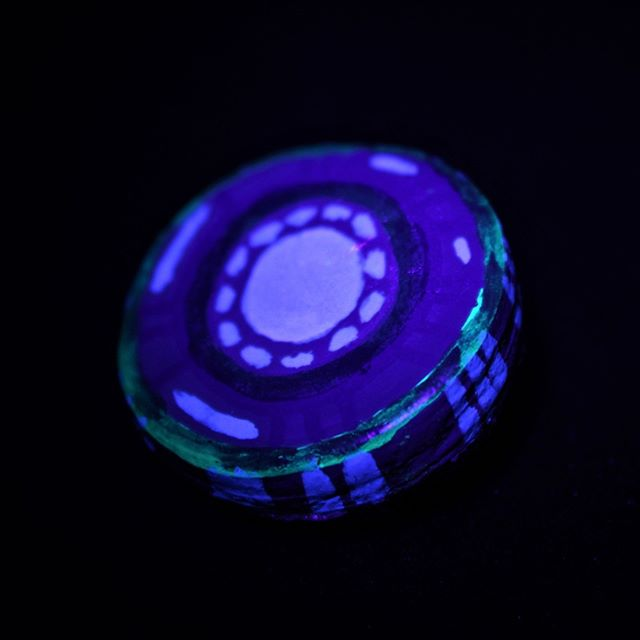 Blue Circle Ceramic Brooch (2017) A handcrafted, handpainted piece of UV-reactive wearable art. Shot under blacklight.