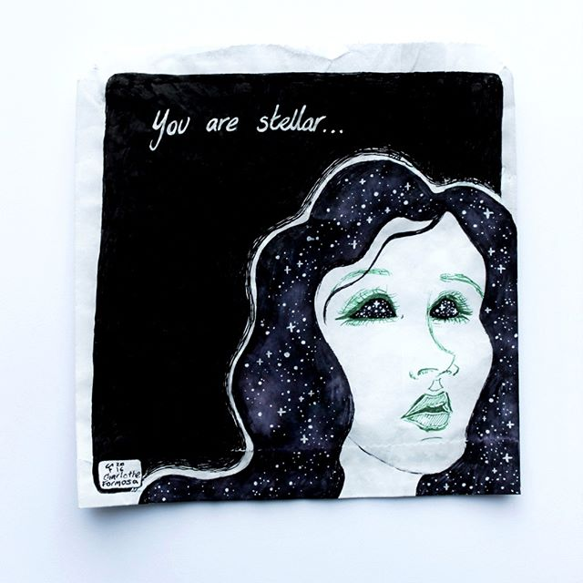 'You Are Stellar' (2016) Illustration onto a paper sweetie bag. https://www.youtube.com/watch?v=-nqRkAsZumc