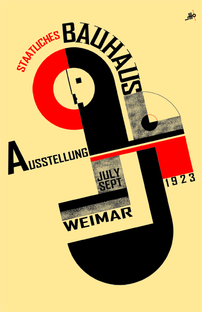Taken from  here . A bauhaus poster uses geometric form to suggest a familiar subject.