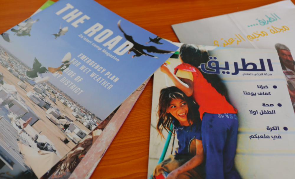 The Road; The only magazine worldwide run by camp refugees.                                                Photo credit: Hiba Dlwati/National Geographics