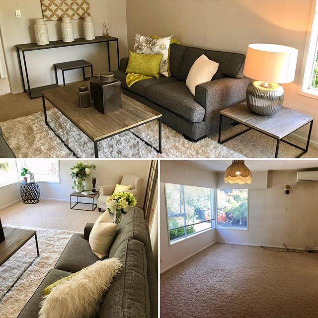 The power of #insideoutdesign Ltd. . . #homestaging #decor #interiordesign #auckland #kiwiownedbusiness #beforeandafter #lounge