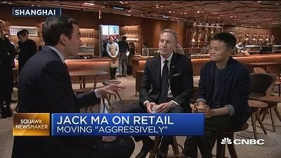 Andrew interviewing Jack Ma, Alibaba's founder, and Howard Schultz. Starbuck's executive chairman, in Shanghai.