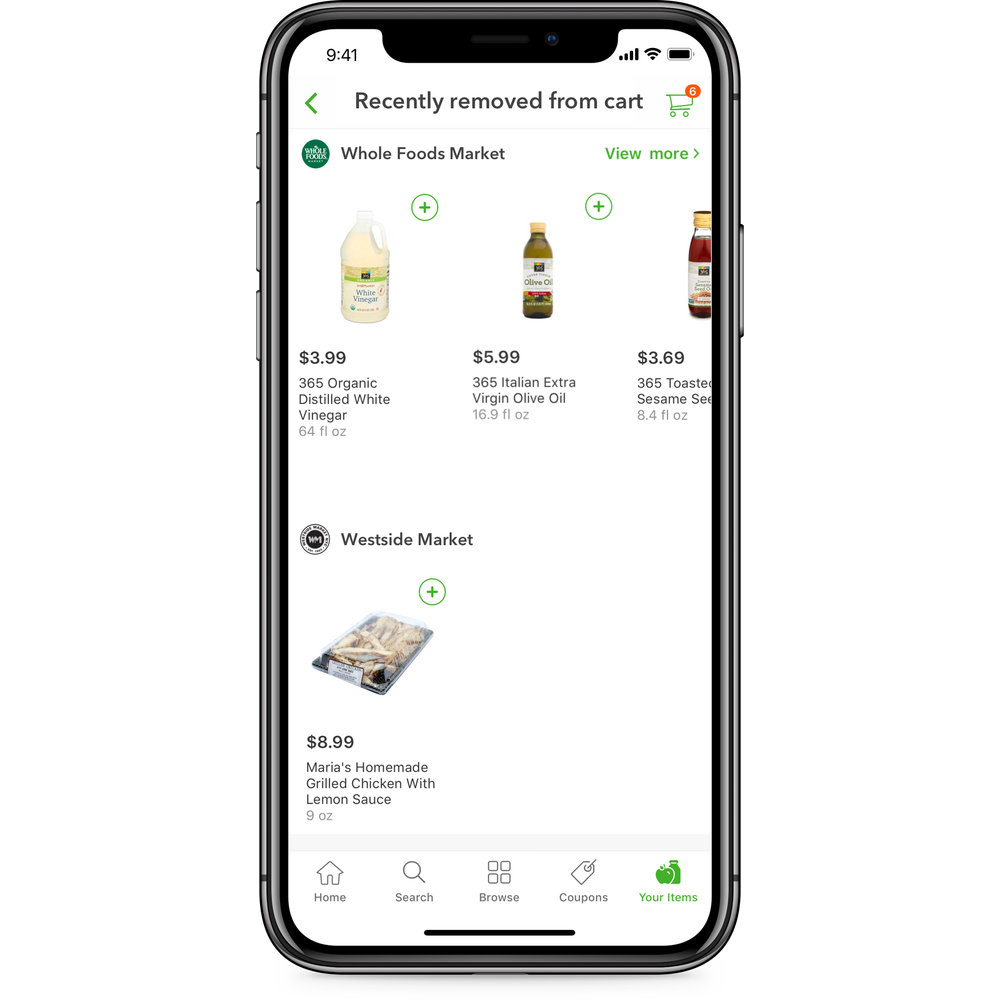 Safe and flexible digital shopping experience - Add items to your cart without worrying about what will happen when they are deleted--you can easily get them back. Found cheaper yogurt at Whole Foods, add it to your cart--don't search for it again.