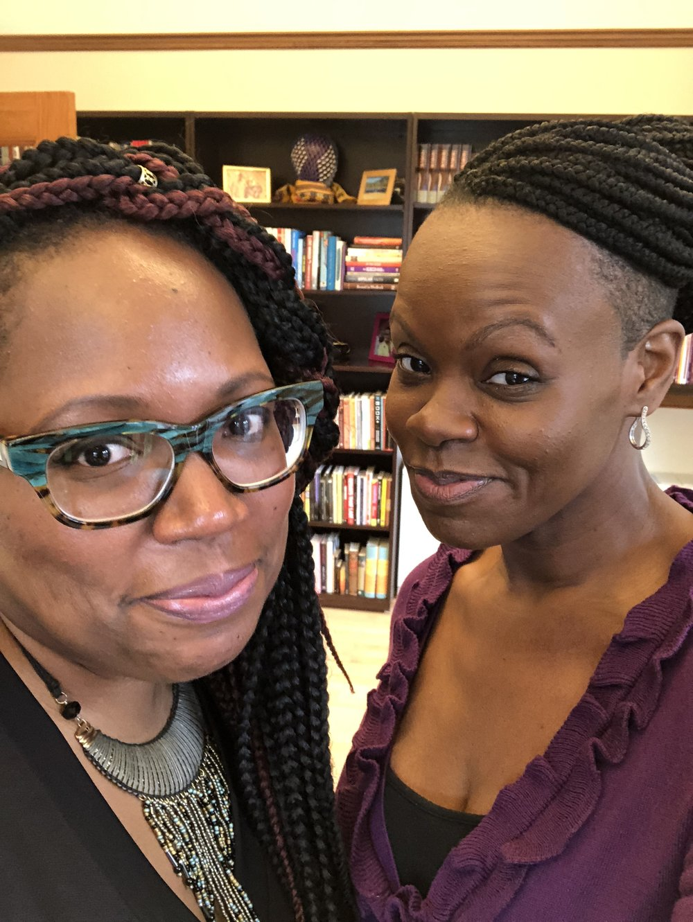 Oooooh. And my sister beloved is hella fun and is as creative with her style, including her hair styles, as I am. As usual, I was trying to be serious and couldn't hold the face, hence the smirks.