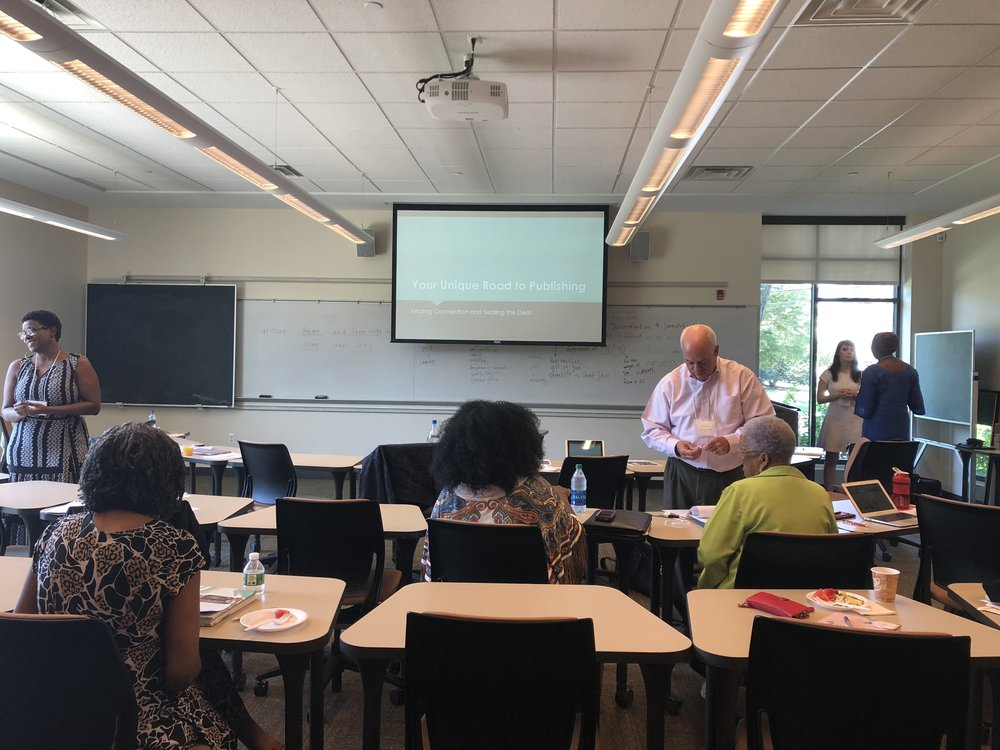 """Brian Allain getting ready to lead the first session """"Marketing for Spiritual Writing"""" during the Dig Deeper Retreat"""