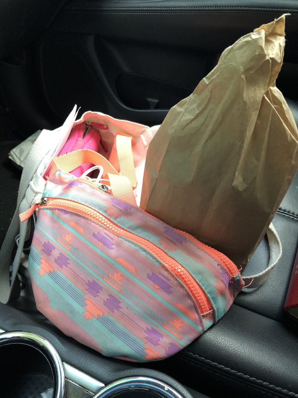 Day One: I packed lunch of a turkey sandwich and frit and my fanny pack so I can sneak in a walk before picking big girl up from school.