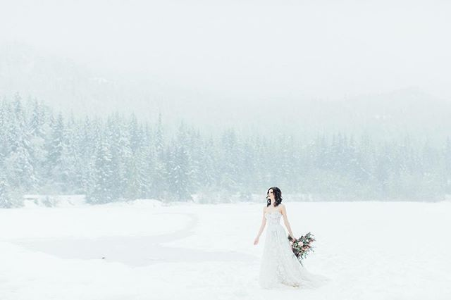 Waiting for that snowfall ❄️ Model : @claudiabakehouse  Make Up : @jasminehoffman  Planner : @bootsnlaceweddings  Florals : @mapleridgeflorist  Dress : @bisou_bridal  Designer : @galialahav  Hair : @ziastolbie  Venue : @nitalakelodge