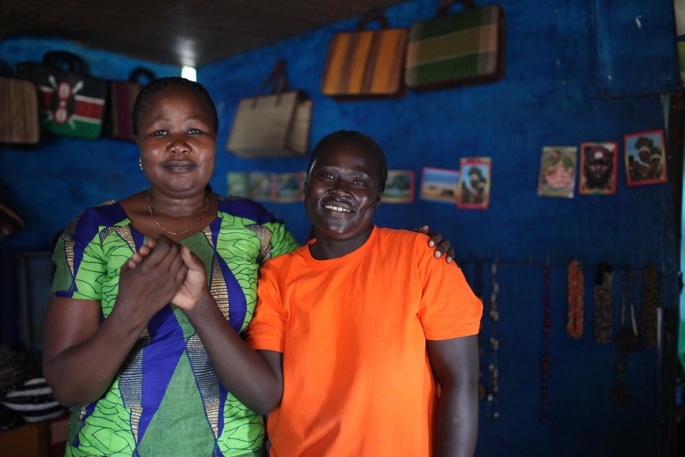 Pamela  with Veronica, a widowed borrower who sells flatbread and hopes to open a catering business in the future. Photo courtesy of Kiva.org.