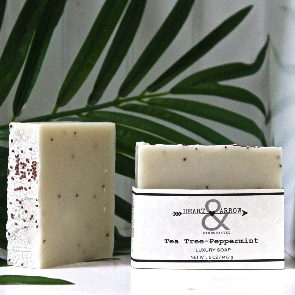 Our favorite facial soap contains essential oils of Australian Tea Tree and Japanese Peppermint, along with French Green Clay & Cranberry Seeds~