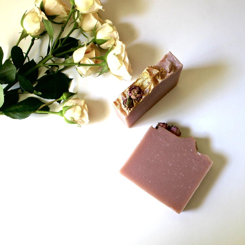 Heart & Arrow Handcrafted soaps, like  Royal Rose  pictured here, are a sublime way to include luxury skin treatment in your bath ritual.