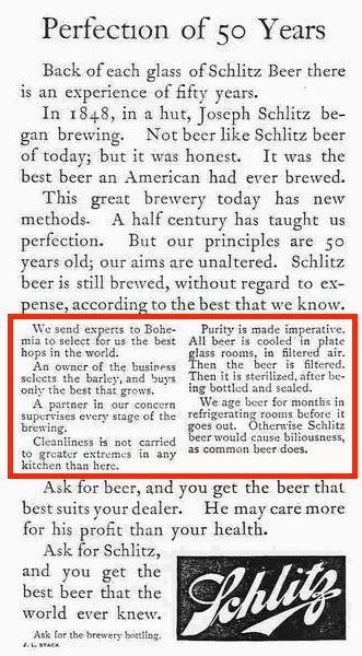 Instead of simply saying Schlitz was the purest beer, he demonstrated why it was the purest by showing the process.