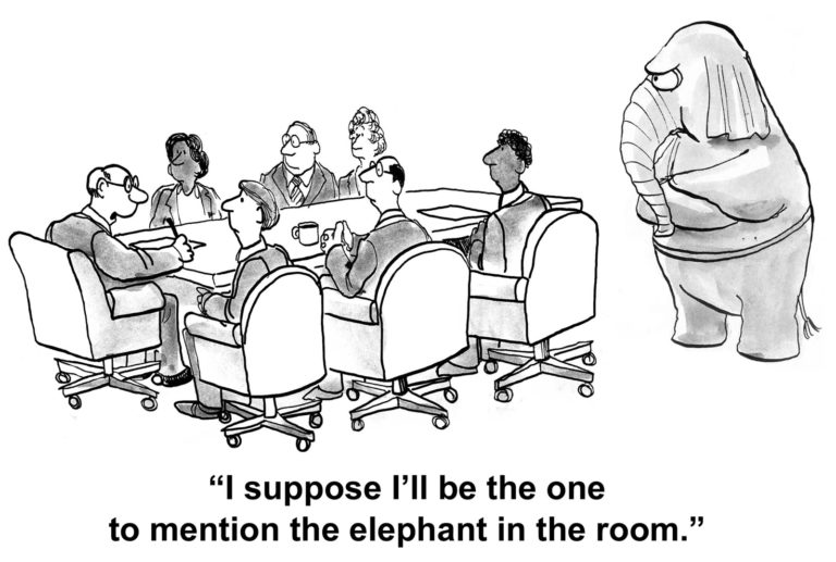 Cartoon of business people in a meeting, one says 'I suppose I'll mention the elephant in the room'.