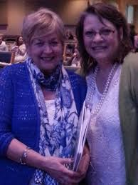 """She's holding my manuscript.""  Kathy with Linda at Surprised By the Healer Conference, Green, Ohio 2015"