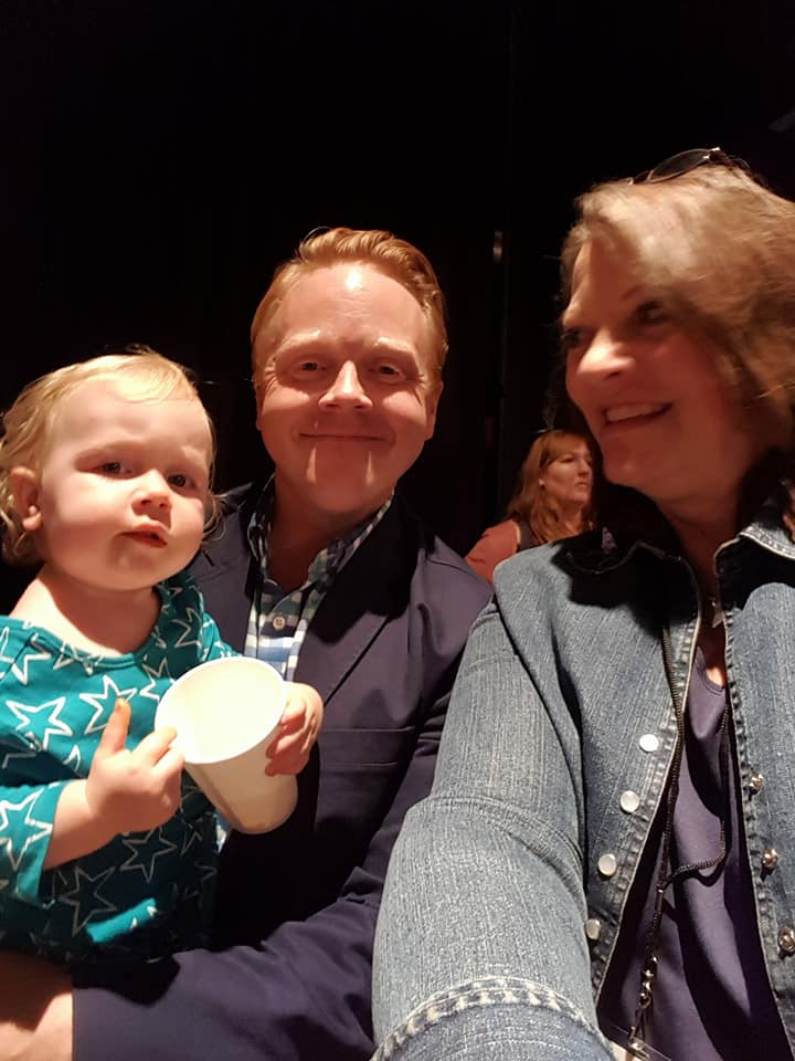 """With Jeff Goins and his """"little"""" at the end of #TribeConf 2017."""