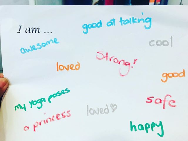 "I have been using ""I am..."" affirmations over my 3 teams with the young tamariki at Capital City Preschool such as  I am  awesome  I am loved  I am me . Today they came up with some of their own ""I am..."" affirmation's to put up at pre-school.  These little yogis fill my heart with so much joy, they are aged 3-5 years old and can name so many yoga poses, and do sun solutions, breathing exercises and they have such a wonderful OM. . I love all the ""I am..."" affirmation's they came up with, but how cute is the ""I am my yoga poses"" ❤️ . . . . . #empoweringchildren #affermations #teachthemyoung #wellington #preschoolyoga #kidsyoga #kidsyoganz #kidsyogateacher #rainbowkidsyogateacher #breathingexercisesforkids #mindfulneaaforkids #yoga #joblove #iamawsome #iam"