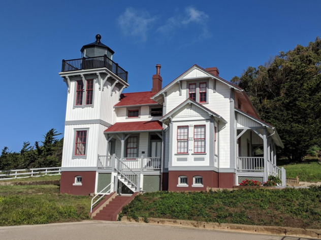 The original lighthouse building, well maintained and still standing.