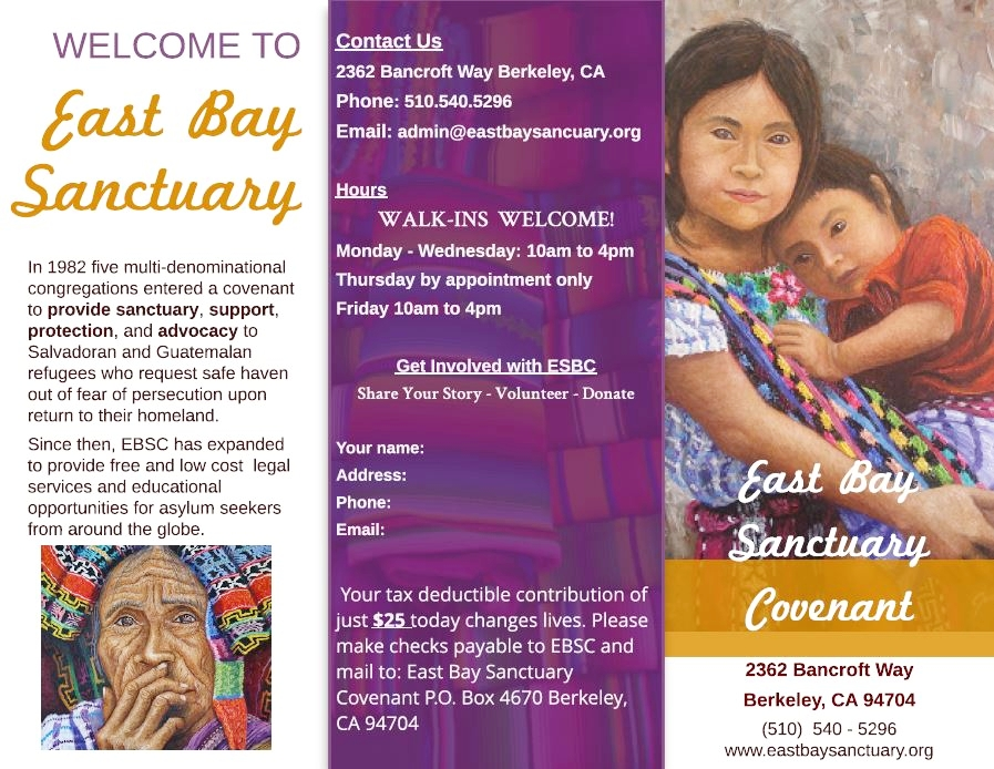 - The East Bay Sanctuary Covenant provides free and reduced cost legal services to indiduals in the East Bay, and also engages in outreach projects in Haiti and throughout Latin America.