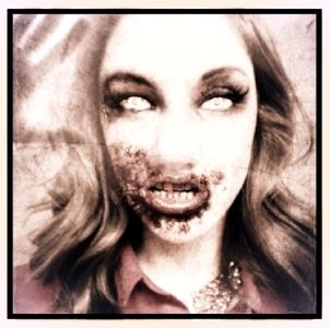 Kellie as a zombie from the Walking Dead