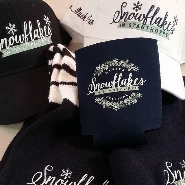 MERCHANDISE #snowflakesinstanthorpe  #winterfun CAPS SCARVES BEANIES STUBBIE COOLERS
