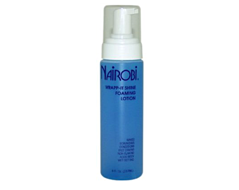This Is my BABY!!!!... This mousse or Foam wrap is a miracle!!!!! This is my all-time favorite. I can use this product on dry hair, wet hair, last minute fresh ups and fixes. It detangles as it styles and sets the hair. Dries quick and leaves the best shine. Never leaves my hair crunchy, flaky, hard or dried out. This styler work so well and in any situation.  I order this foam wrap on-line with Amazon.com $11 NAIROBI