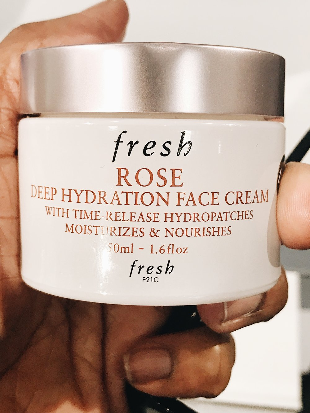 """Fresh"" a cult favorite in the beauty world of everybody, LOL!!! New moisturizer for me.  currently, my favorite 2 moisturizers are ""BELIF"" and ""SUNDAY RILEYS""  sorry about the missing manicure..."