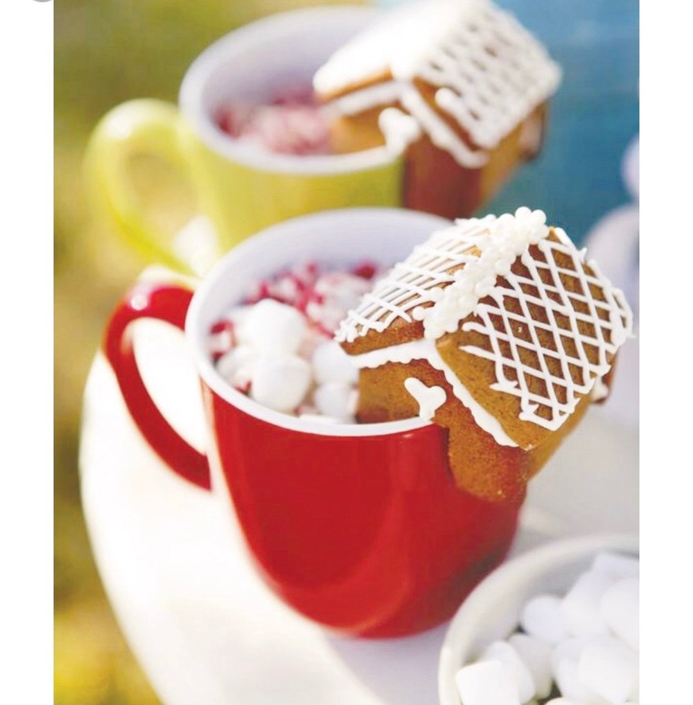 """Stop by """"William Sonoma"""" for these festive mug toppers. We have the ginger bread toppers and the house toppers…"""