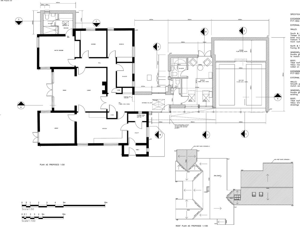 Country house extension, Hampshire - With enhanced main entrance and up to date en-suite bedroom and car port extension together with master bedroom en-suite this proposal give a new lease of life to an established country property using traditional oak timber features.Planning permission recently granted...