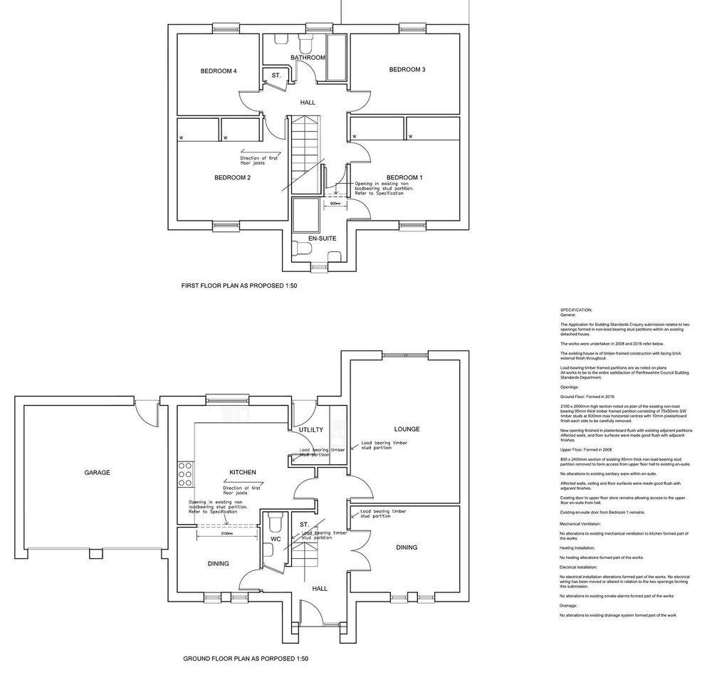 Building Standards Enquiry, Inchinnan - When putting their house up for sale the matter of concluding and determining whether previous alterations required a building warrant needed to go through the Building Standards Enquiry process. This successfully enabled the client to sell their house without any residual issues holding up the sale.