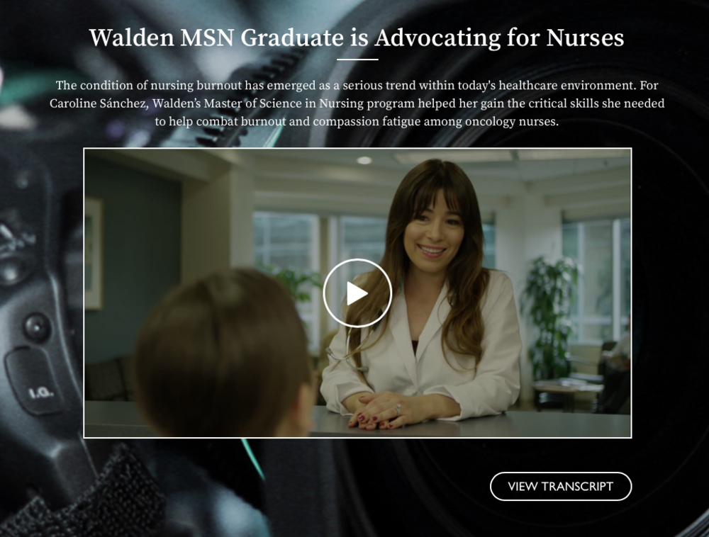 Walden MSN Graduate is Advocating for Nurses - The condition of nursing burnout has emerged as a serious trend within today's healthcare environment. For Caroline Sánchez, Walden's Master of Science in Nursing program helped her gain the critical skills she needed to help combat burnout and compassion fatigue among oncology nurses.