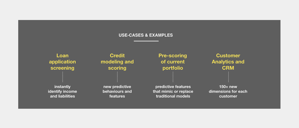 Typical use-cases - Extracting categories from raw transaction data can be valuable across departments. This means being able to get