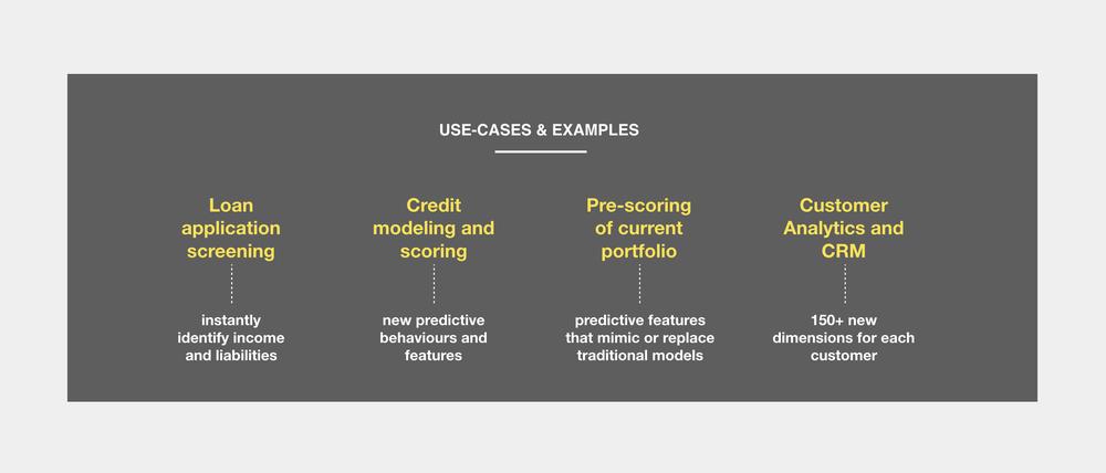 Casos de uso típicos - La extracción de categorías de datos de transacciones sin procesar puede ser valiosa en todos los departamentos. Esto significa poder obtener datos