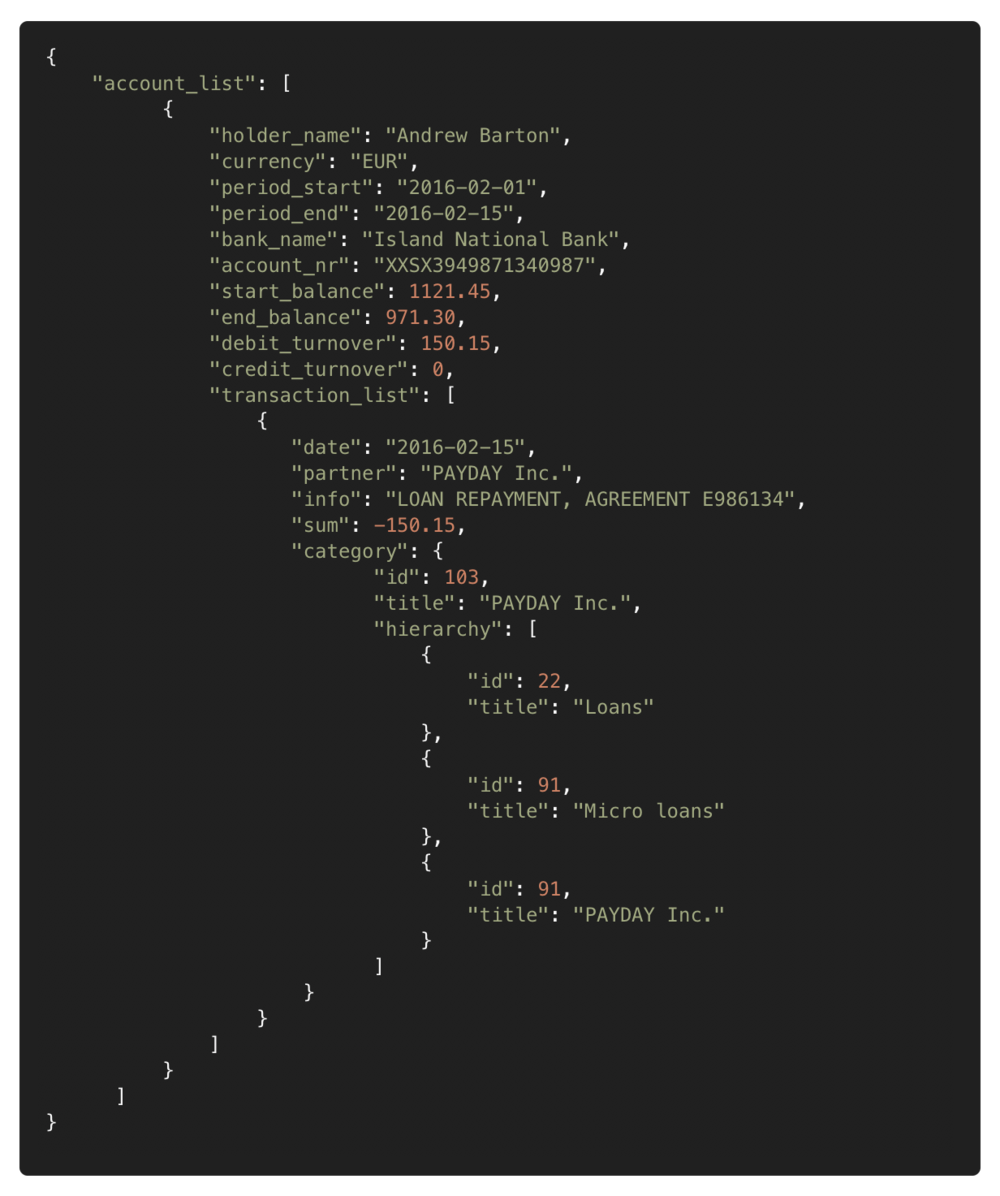 Output file (JSON) with categories -