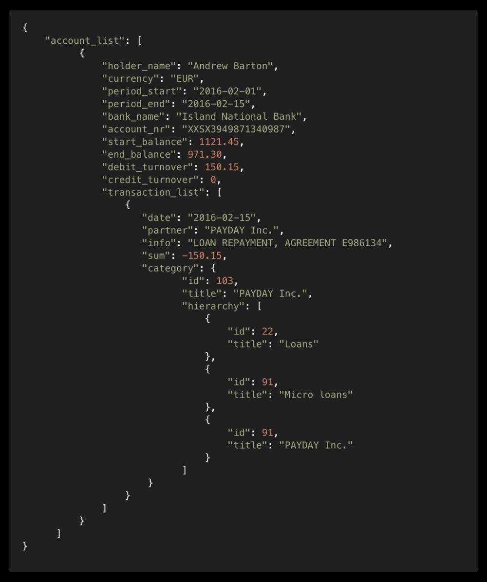Archivo de salida (JSON) con categorías -