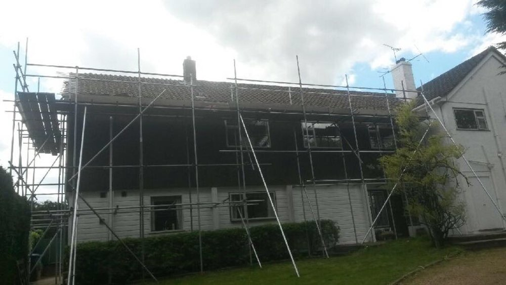 Scaffold erection for new section of roof including verge