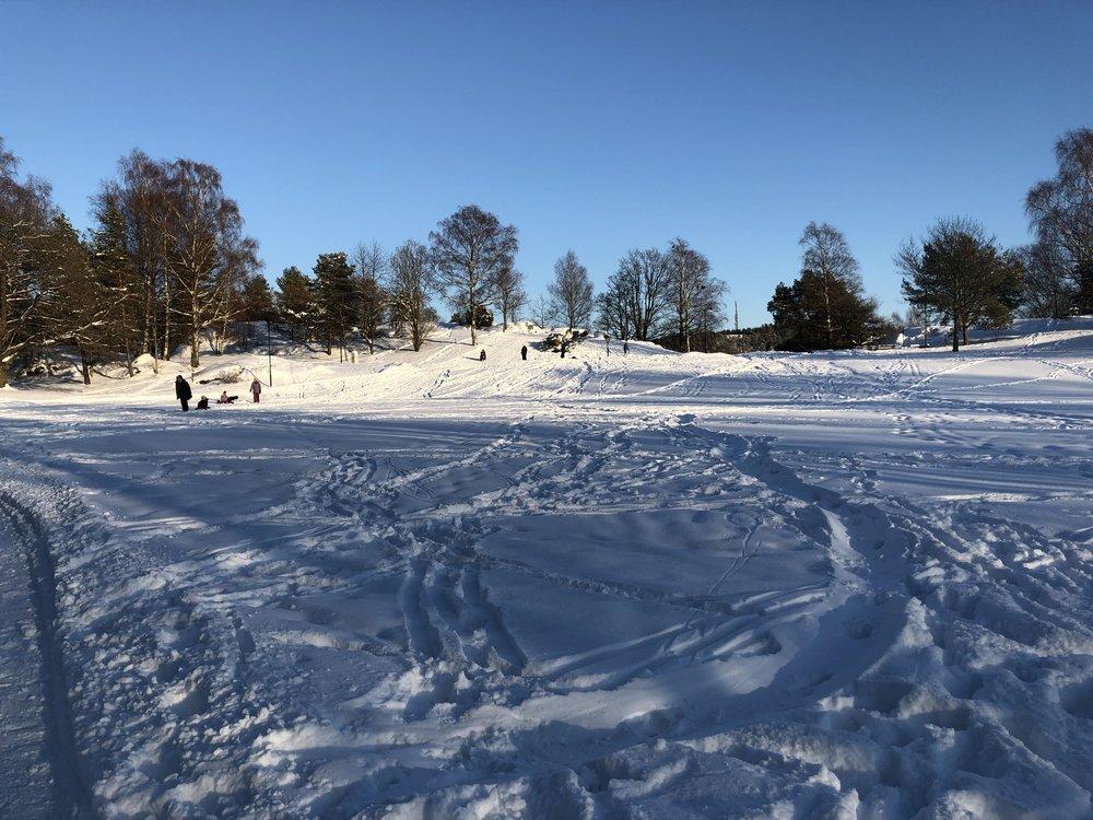 Nesparken bød på akevær i starten. I Moss må snøen nytes raskt og effektivt!