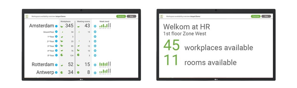 6. Reception and floor displays - Users can see at a glance if, where and what workstations are available. When Map view (feature 4) is used, you can switch between dashboard or office map. Annual price:     €3,- per iotspot that is activated.