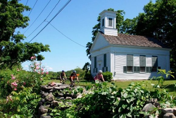 Cyclists pass Grassy Hill Church during last year's Tour de Lyme.
