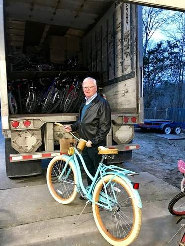 Chester Rotary past president Ron Woodward helped organize the shipment of more than 200 bicycles to Houston residents affected by Hurricane Harvey. (Photo by Rita Christopher/The Courier)