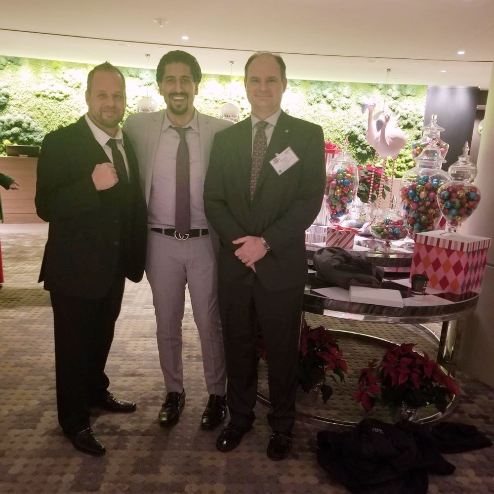 Jamie Claxon, Michael Azzam and David Terbeek at the black tie Weatherhead 100 Awards Ceremony.