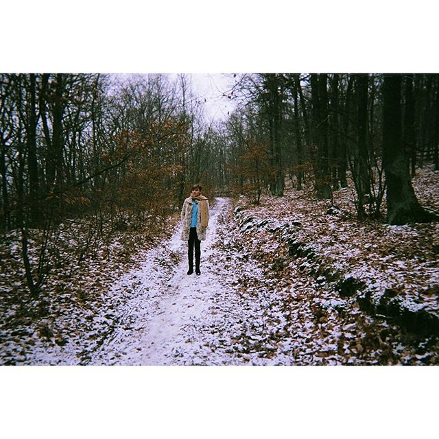 📸 on #disposablecamera in #brno #czech #snowing in the #woods, #nofilter