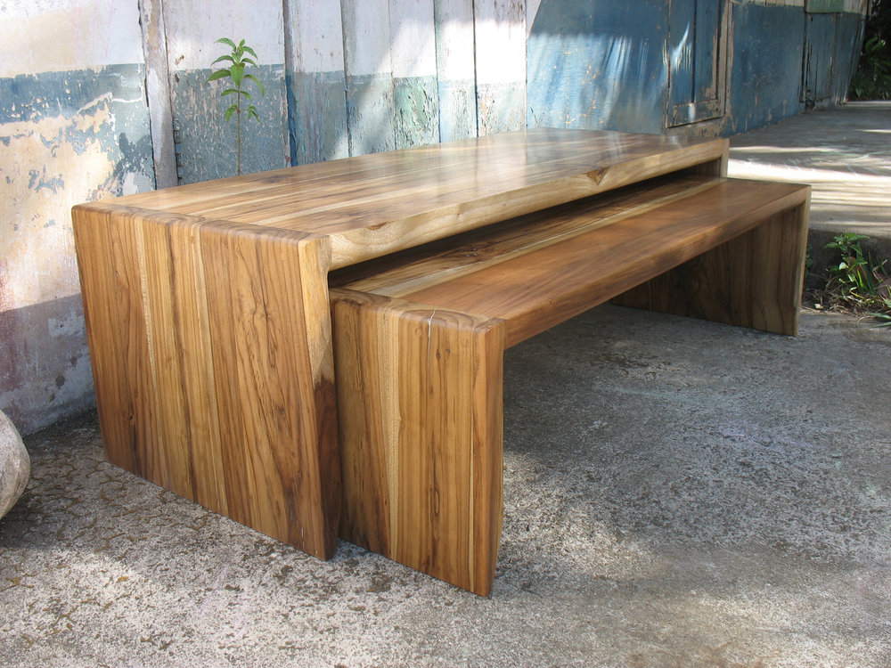 Nesting bench/tables, solid laurel wood, very similar to walnut, a bit softer